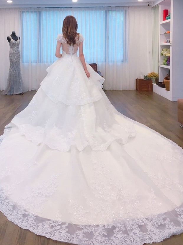 onlybridals Sheer Back Princess Wedding Dress with Train shining Lace Bridal Gowns - onlybridals
