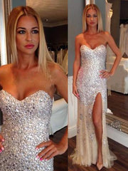 onlybridals New Arrival Sexy Sweetheart Side Slit Long Beading Prom Dresses - onlybridals