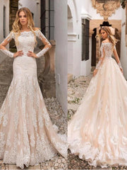 onlybridals Champagne Wedding Dress Lace Appliques Full Length Sleeves Wedding Bride Dresses - onlybridals