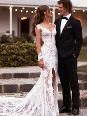 onlybridals Boho Lace Mermaid Wedding Dress Sexy Front Split Lace Long Sleeve Wedding Gowns - onlybridals