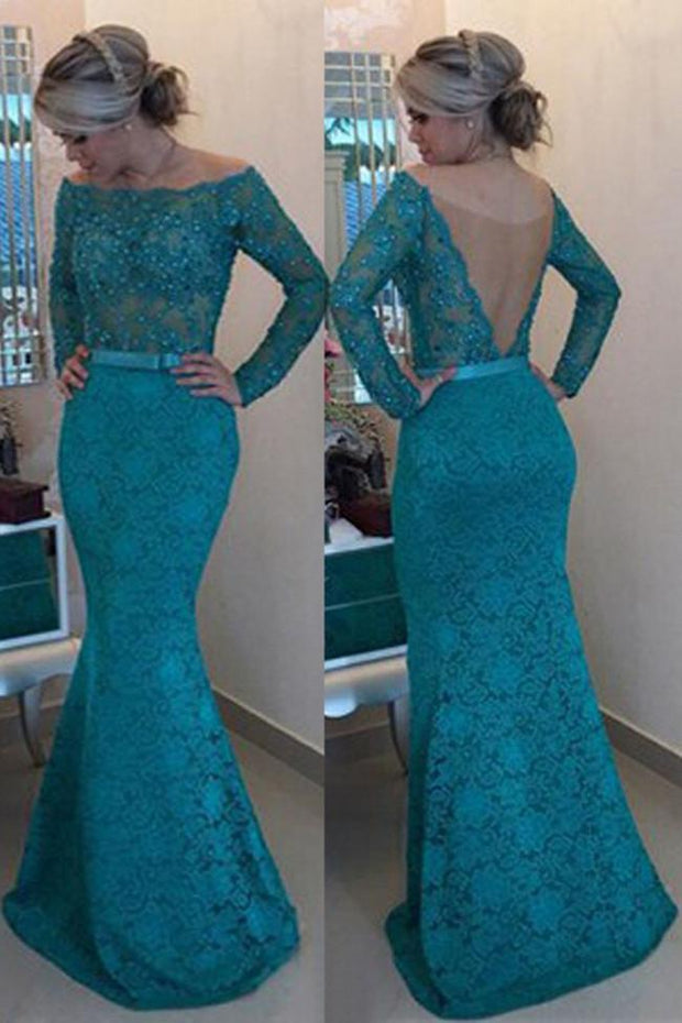 Turquoise Lace Floor-Length Off Shoulder Long Sleeves Prom Dress with Pearls, MP188 - onlybridals