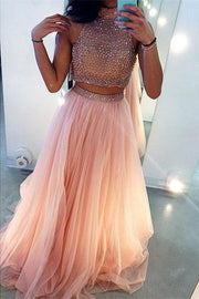 Two Piece A-Line High Neck Sleeveless Long Prom Dress with Beading, MP261 - onlybridals