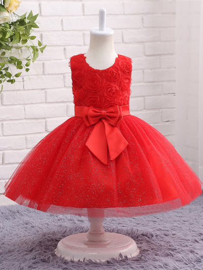 onlybridals Red Flower Girl Dresses for Weddings With Bow Lace Flowers Holy Communion Dresses Prom Dress Pageant Ball Gown - onlybridals