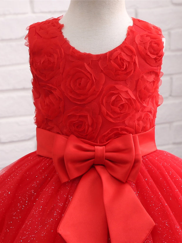 onlybridals Red Flower Girl Dresses for Weddings With Bow Lace Flowers Holy Communion Dresses Prom Dress Pageant Ball Gown
