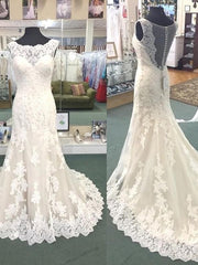 onlybridals Sexy See Through Back Tulle Lace Vintage Bride Mermaid Wedding Dresses New Wedding Gowns - onlybridals