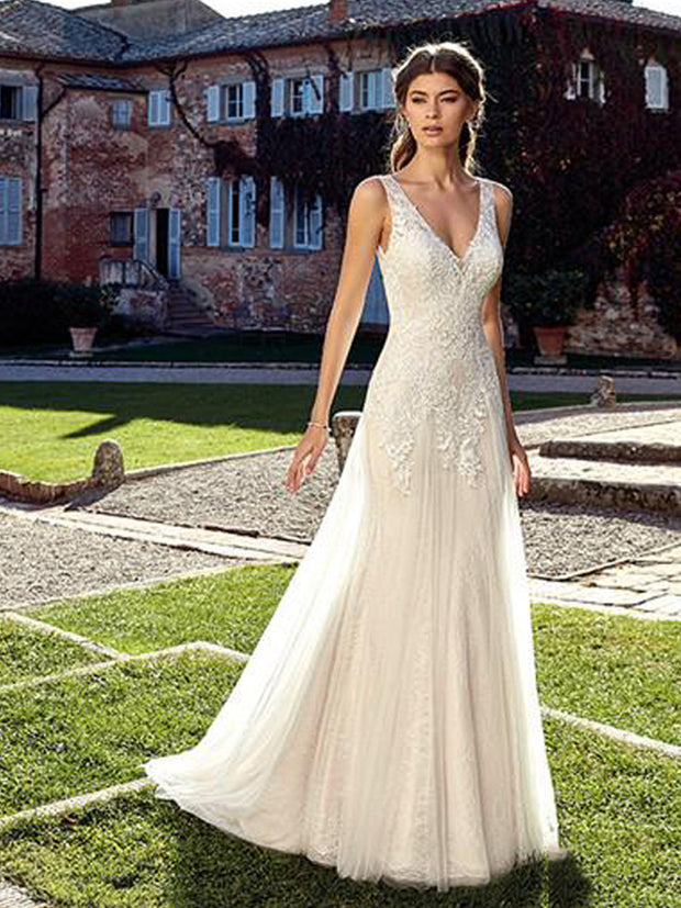 onlybridals V Neck Ivory Wedding Dresses White A line Floor Length Train Illusion bridal Dress Wedding GownS - onlybridals
