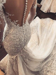 onlybridals Sexy Mermaid Wedding Dress Long Sleeves White Ivory Lace Applique Wedding Gowns Open Back Bride Wedding Dress - onlybridals