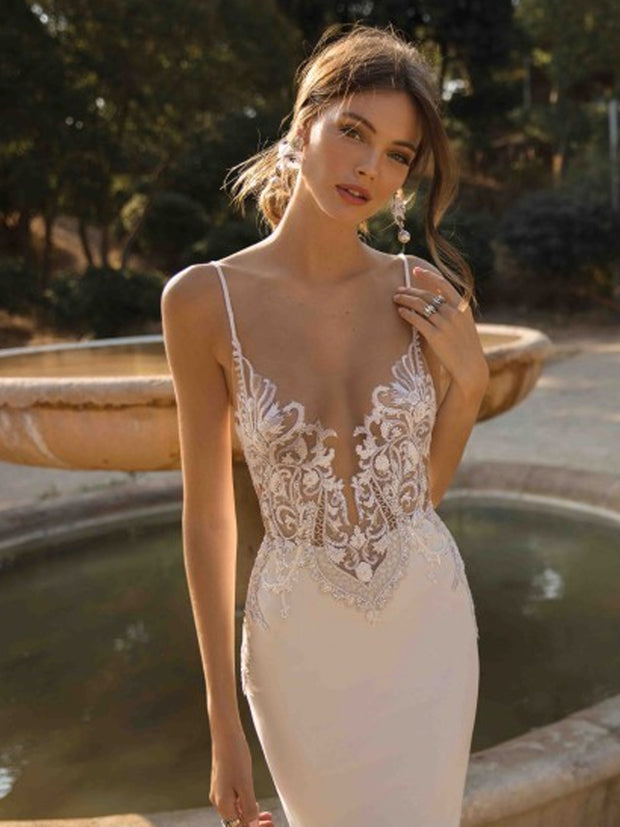 onlybridals Mermaid Wedding Dresses Spaghetti Lace Beach Bride Dress Sexy Back Wedding Gown - onlybridals