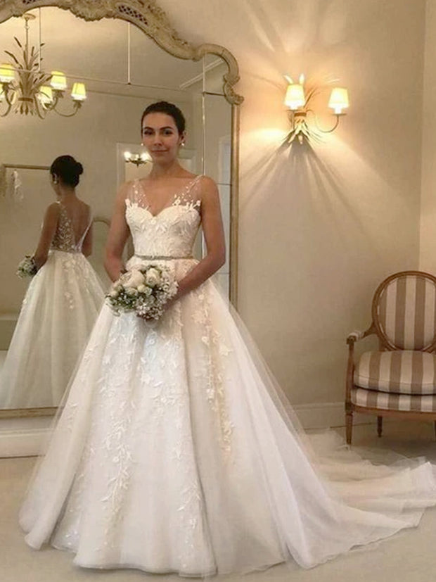 onlybridals A-Line V-Neck Sleeveless Tulle Long Wedding Dresses With Appliques - onlybridals