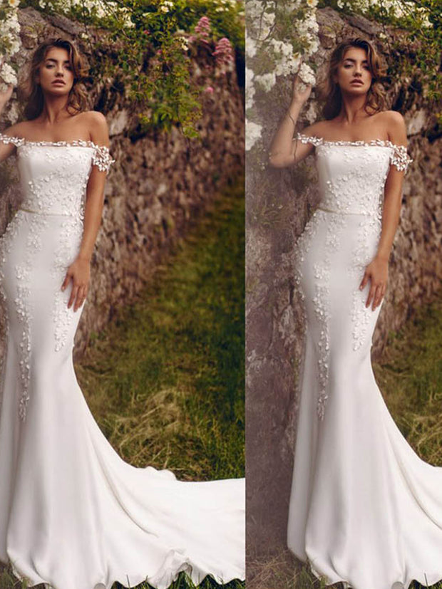 onlybridals Mermaid Wedding Dresses Lace Beach Bride Dress White Ivory Wedding Gown - onlybridals
