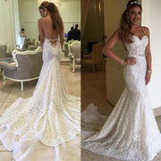 White Sweetheart Lace Mermaid Spaghetti Open Back Wedding Dresses, MW259 - onlybridals