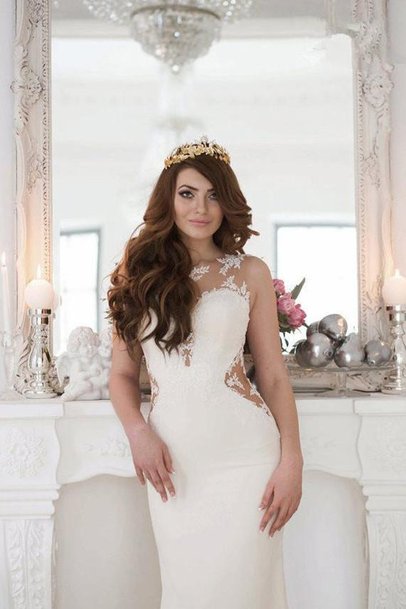 onlybridals White Lace Mermaid See Through Long Wedding Dresses with Sweep Train - onlybridals