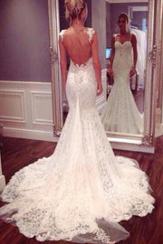 White Spaghetti Straps Mermaid Backless Lace Wedding Dresses, Bridal Gown, MW102 - onlybridals