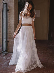 onlybridals Beach Wedding Dresses Lace Off the Shoulder Bridal Dress Appliques Boho Bride Gown - onlybridals