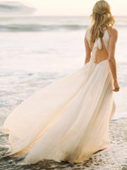 onlybridals Boho Wedding Dress Spaghetti Strap A Line Chiffon Long Backless Beach Wedding Gown - onlybridals