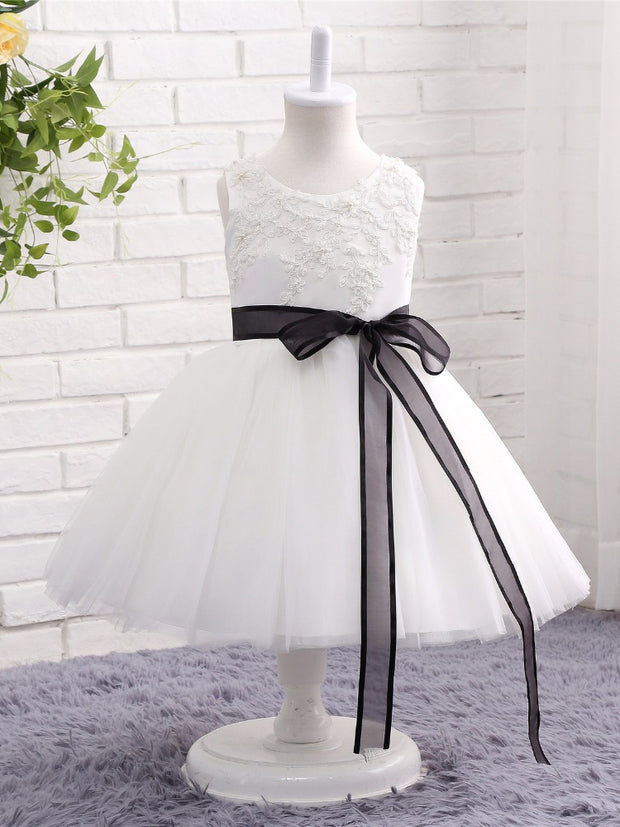 onlybridals Flower Girl Dresses for Weddings White Lace Tulle Ball Gown First Communion Dresses kids Prom Dresses Birthday Party Dresses - onlybridals