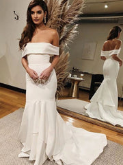 onlybridals Mermaid Wedding Dresses Satin Off The Shoulder Bride Dresses Boho Wedding Gown - onlybridals