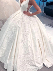 onlybridals Backless Lace Ball Gown Wedding Gowns V Neck Applique Beading Long Train Bridal Dress