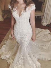 onlybridals Mermaid Wedding Dresses Ivory Boho Lace Plus Size Wedding Dress Dubai Bride Dress - onlybridals