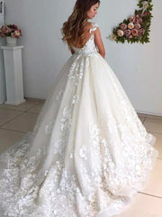 onlybridals Sleeveless Tulle  Appliques Bridal Gowns Sweep Train Ball Gown Wedding Dresses