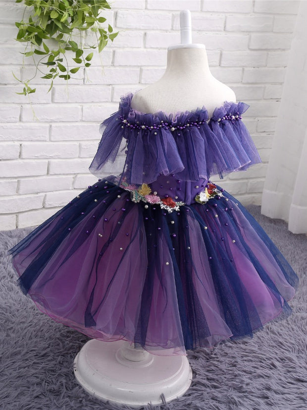 onlybridals Beautiful Flower Girl Dresses Off Shoulder Tulle Sexy Children Images Pageant Ball Gown Wedding Party Gown Prom Dress Kids - onlybridals