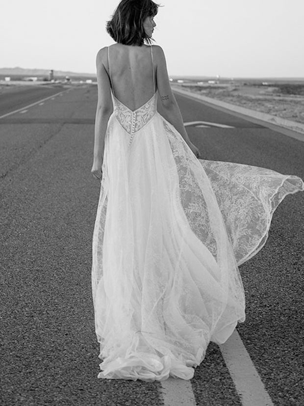 onlybridals A line Wedding Dress Boho Backless Wedding Gowns Lace Elegant Bride Dress - onlybridals