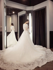 onlybridals V-Neck Ball Gown Wedding Dresses Appliques Long sleeve Vintage Lace Bride Gowns - onlybridals