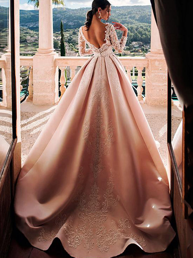 onlybridals Satin V-Neck A-Line Wedding Dresses With Lace Appliques Long Sleeves elegant wedding Gowns - onlybridals