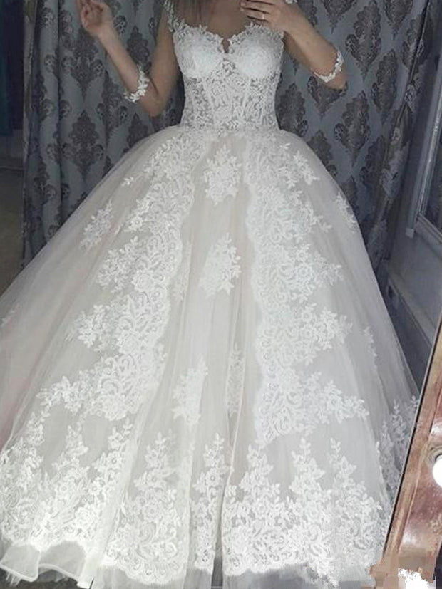 onlybridals Lace Applique Ball Gown Wedding Dresses sleeves Sweep Train Wedding gown