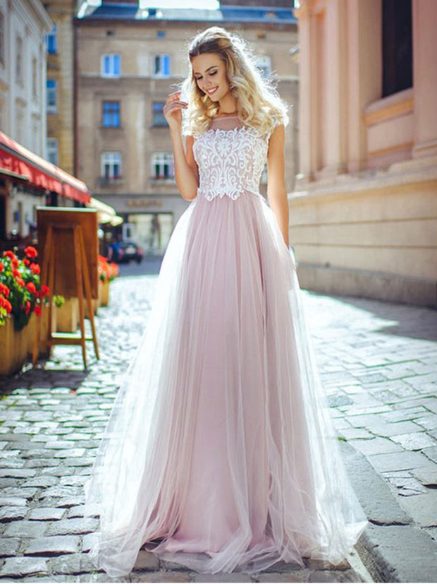 Onlybridals Pink Bridal Dress Lace Top Wedding Dresses Floor Length Wedding Gown