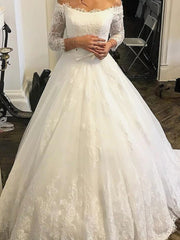 onlybridals Vintage Wedding Dress Long Sleeves Off the Shoulder Elegant Lace Applique Custom Gowns - onlybridals