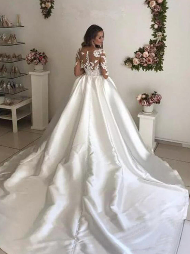 onlybridals Long Sleeves  Court Train Lace Appliques Bridal Gown Satin Ball Gown Wedding Dresses - onlybridals