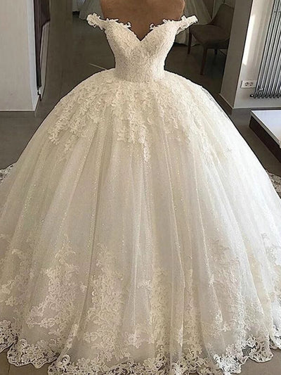 onlybridals White  Wedding Dress Bridal Gowns Ball Gown Lace Applique Wedding Dress