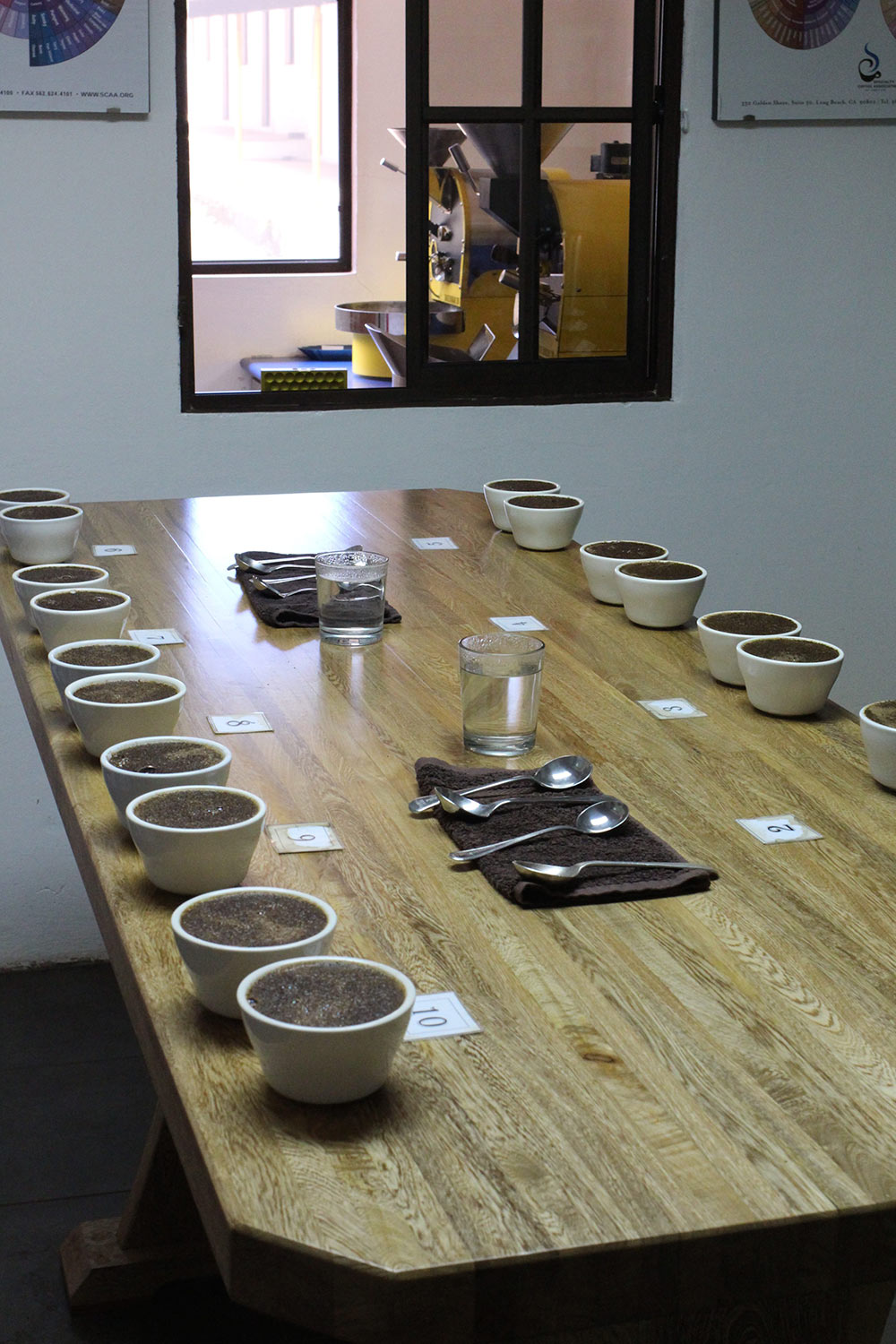 A table full of samples from the mills El Manzano processes.