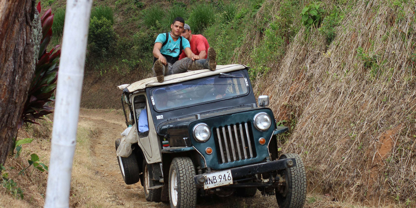 A jeep loaded with coffee at GLE's first farm Finca Potosi