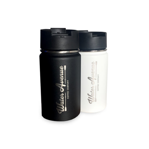 12oz Hydroflask coffee travel cup sporting the Water Avenue Coffee brand.  Vacuum insulated, double-walled stainless-steel construction keeps your coffee hot from the first sip to the last.  BPA free.  Comes in your choice of Black or White.