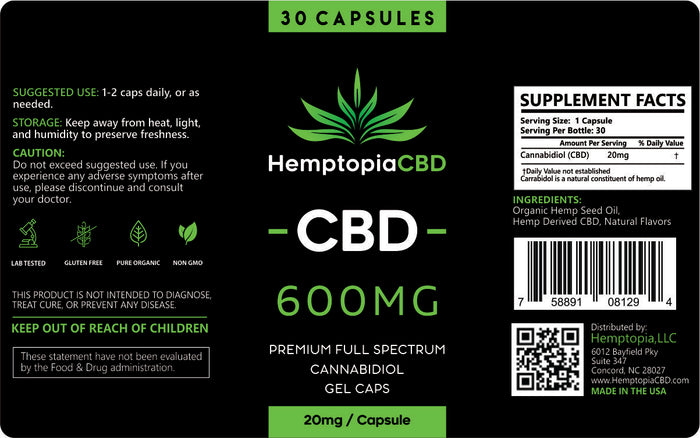 CBD Oil Capsules 30 count 600mg