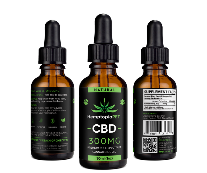 CBD Oil For Pets 30mL Natural 300mg - HemptopiaCBD