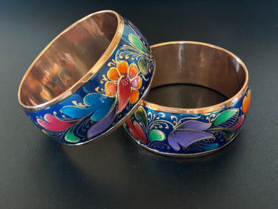 Blue copper bracelet (floral)