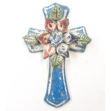 Washed clay cross (light blue)