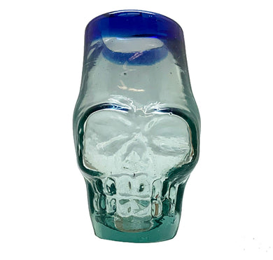 Blue rim skull shot glass