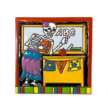 Day of the dead teacher tile 6x6
