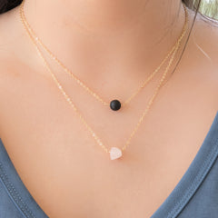 Raw Rose Quartz and Lava Rock Layered Necklace | Liz.Beth Jewelry Co.