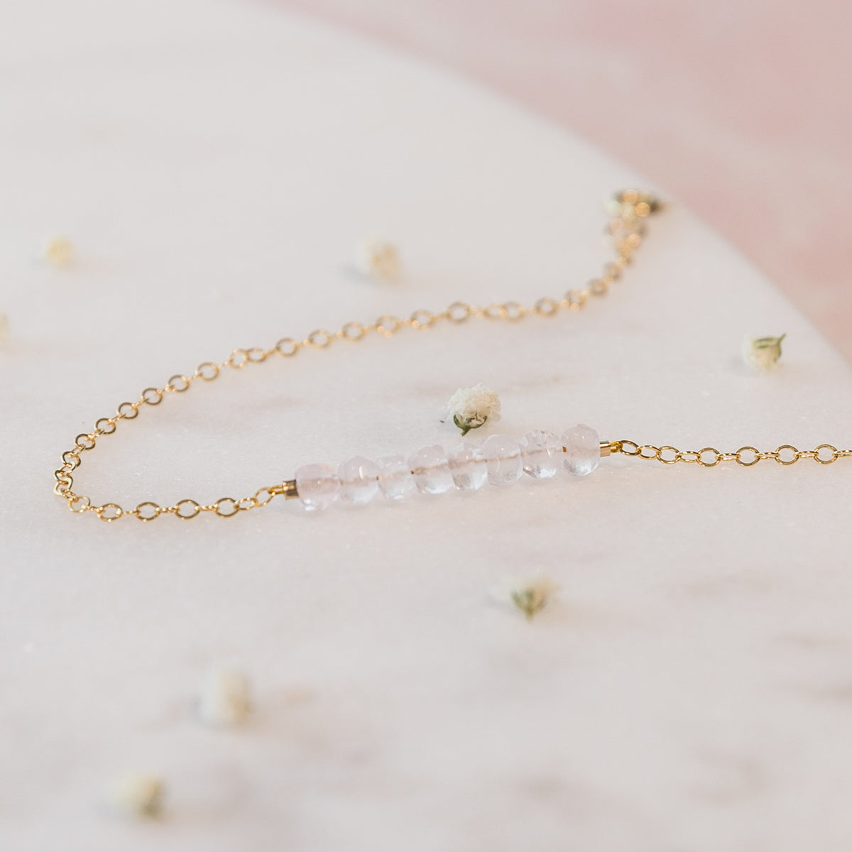 Rose Quartz Bracelet, Bridal Party Jewelry, Healing Crystal Jewelry, Dainty Rose Quartz Necklace, Minimal Necklace, Bohemian, Crystal Jewelry, Gemstone Necklace, Liz.Beth Jewelry Co.