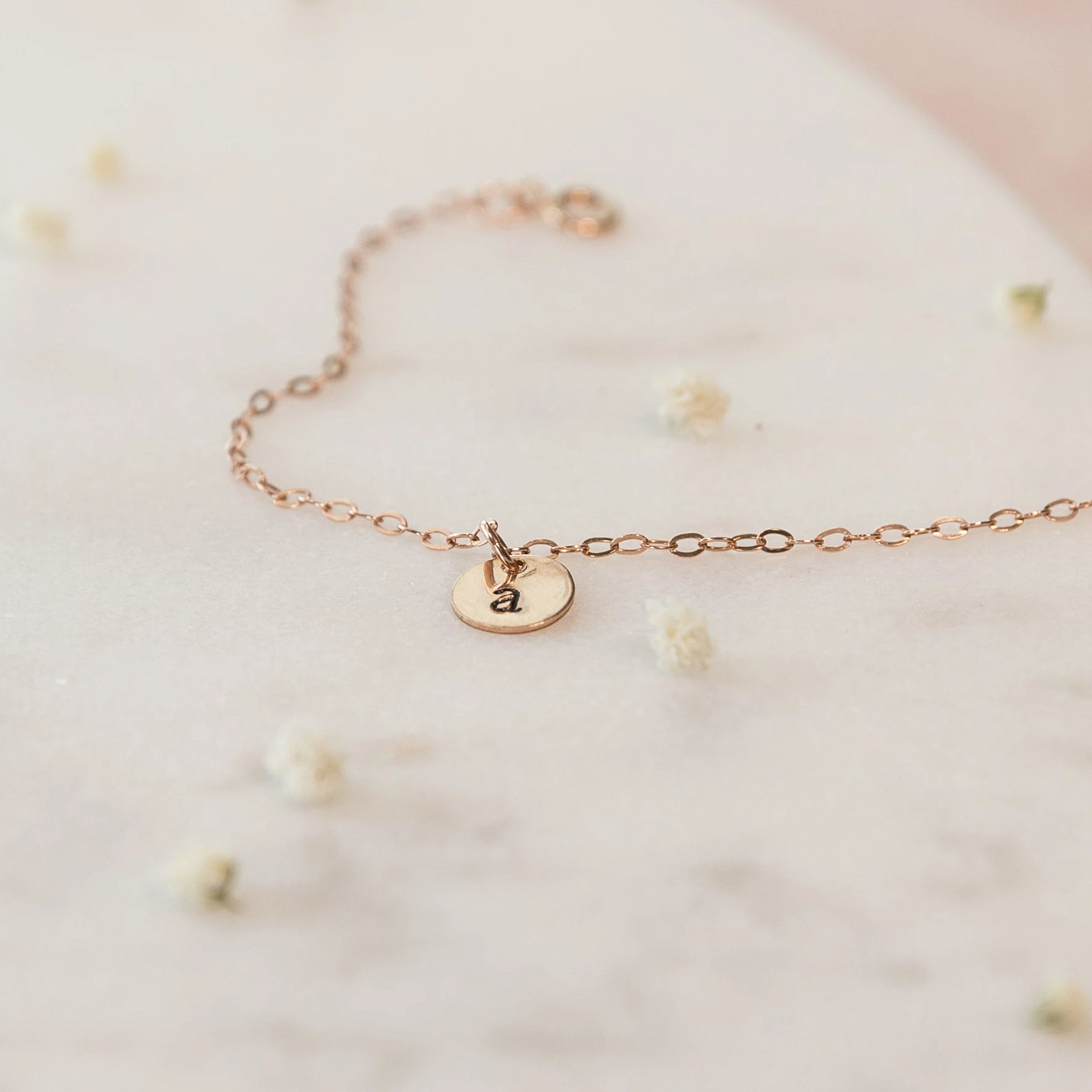 Women's gold or silver dainty personalized initial charm bracelet