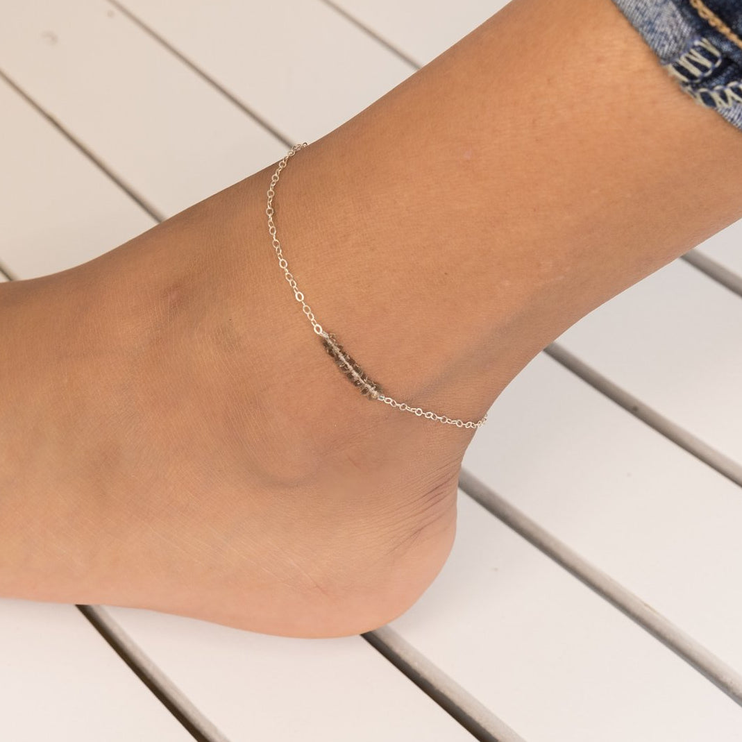 Smoky Quartz Crystal Horizontal Bar Anklet