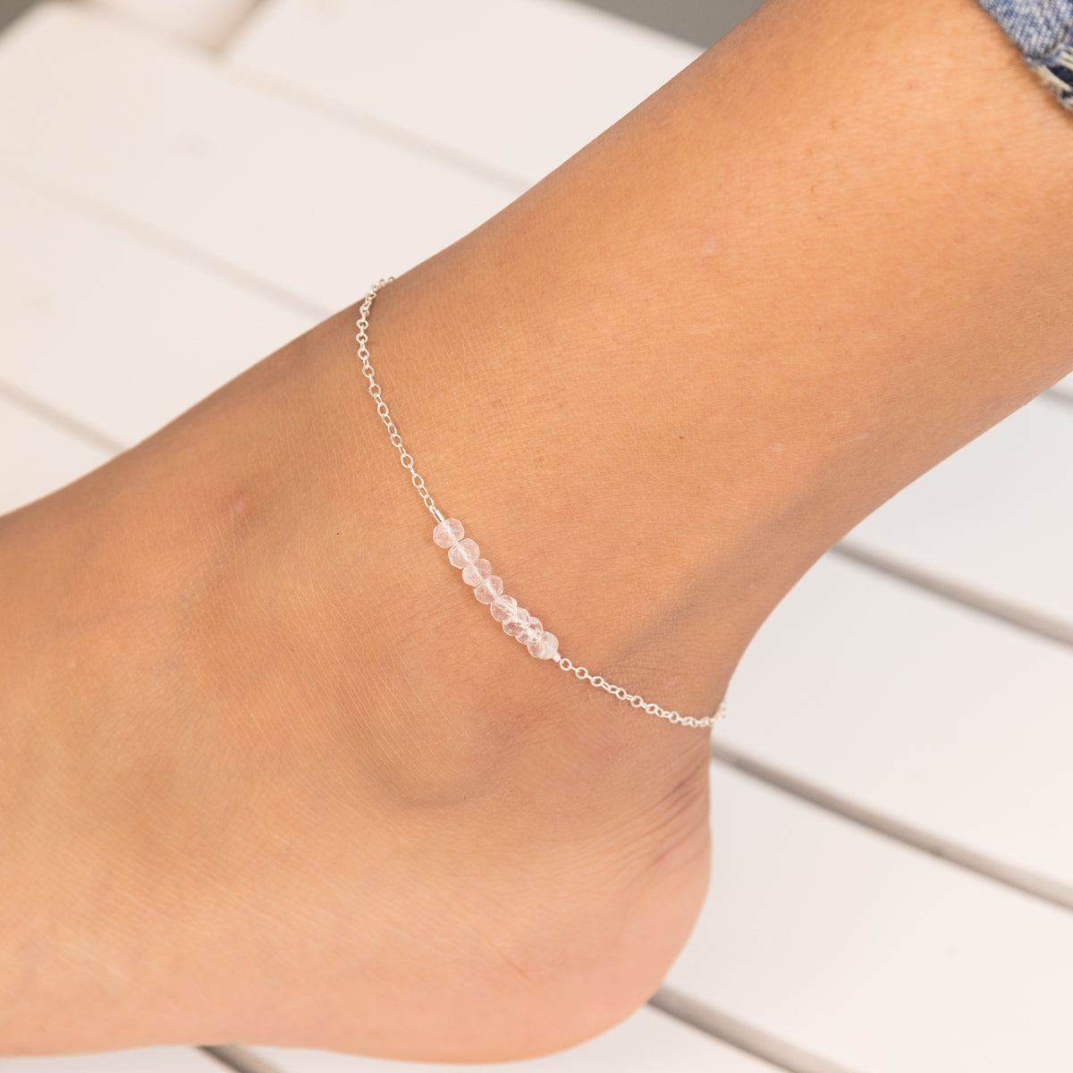 Rose Quartz Anklet,Maid of Honor Jewelry Gift, Bridal Party Jewelry, Healing Crystal Jewelry, Dainty Rose Quartz Ankle Bracelet, Minimal Anklet, Bohemian Ankle Bracelet, Crystal Jewelry, Gemstone Anklet, Liz.Beth Jewelry Co.