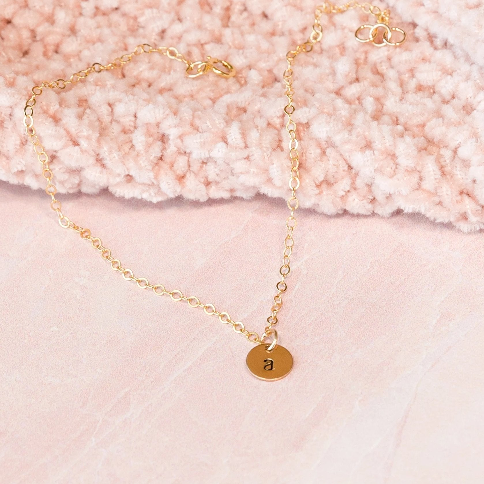 Sterling silver or gold personalized initial charm anklet