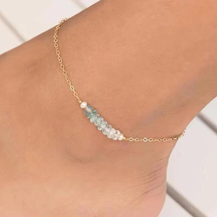 Pearl And Aquamarine Ombré Anklet