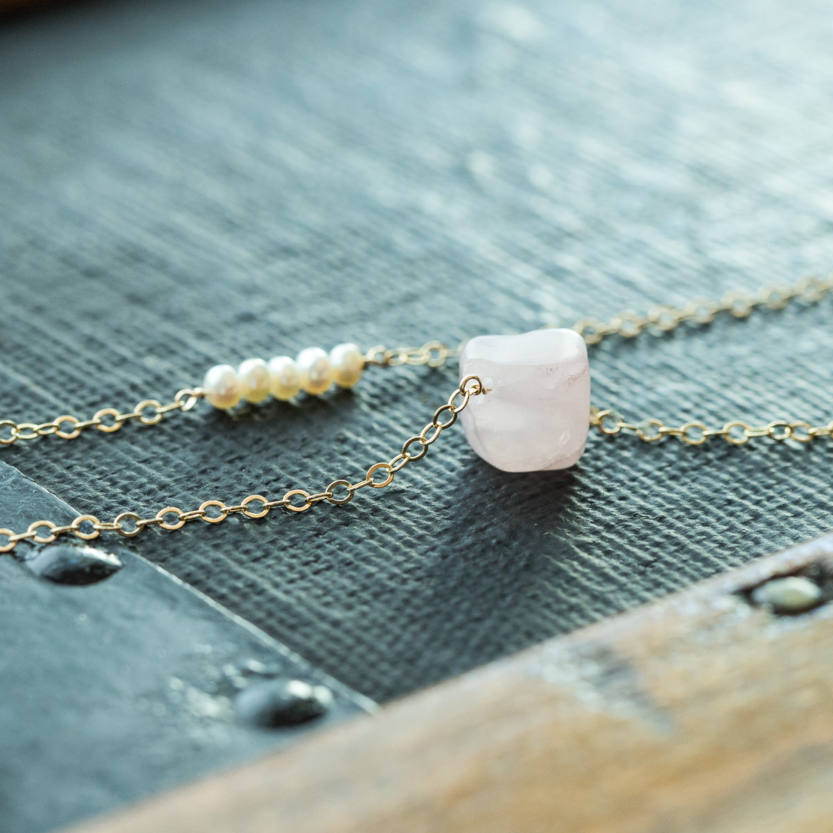Pearl Row and Rose Quartz Nugget Layered Necklace